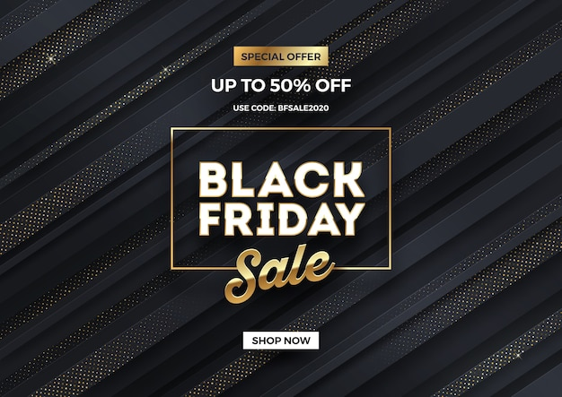 Black friday sale design. black striped background with  golden halftone.