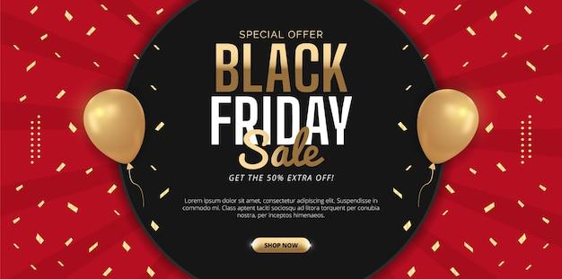 Black friday sale design  in red background. premium vector.