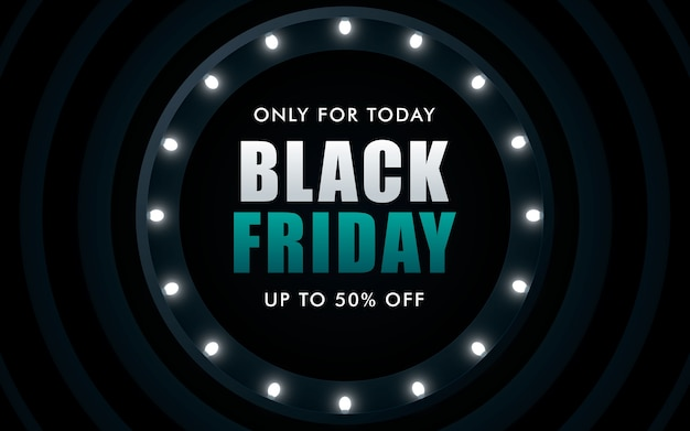 Black friday sale design surrounded by glowing lights