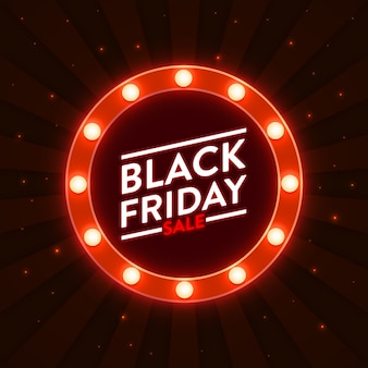 Black friday sale design with illuminated round marquee frame