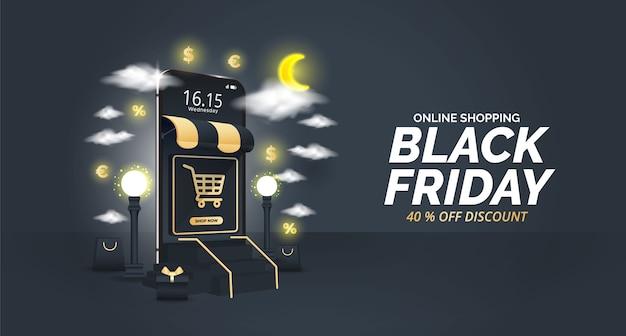 Black friday sale design with mobile element