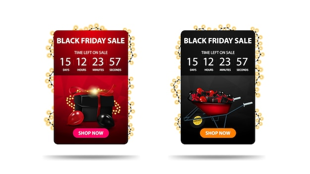Black friday sale, discount banner with countdown timer until the end of the promotion, button, icon and garland