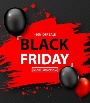 Black friday sale. discount banner with red grunge frame and balloons