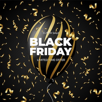 Black friday sale discount promo black and gold balloon with golden ribbon