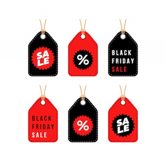 Black friday sale discount shopping tag set