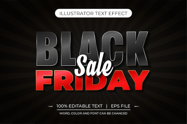 Черная пятница распродажа редактируемый текстовый эффект черный и красный векторный текстовый эффект