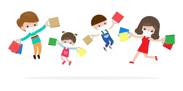 검은 금요일 판매 이벤트 쇼핑 가방과 함께 행복한 가족 캐릭터 만화, 광고 포스터 배너 큰 할인 프로모션 개념 빨간색 배경 일러스트 레이 션에 고립