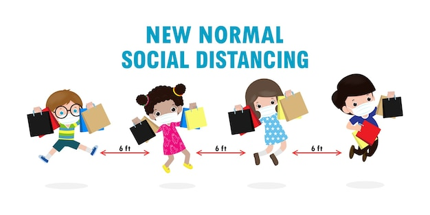 Black friday sale event people characters cartoon with shopping bag, new normal and social distancing shopping lifestyle with protect coronavirus or covid-19