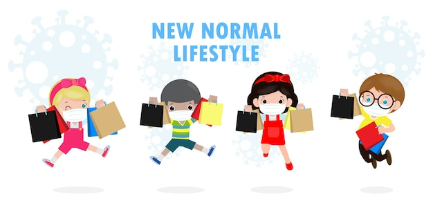 Black friday sale event people characters cartoon with shopping bag, new normal shopping lifestyle with protect coronavirus 또는 covid-19