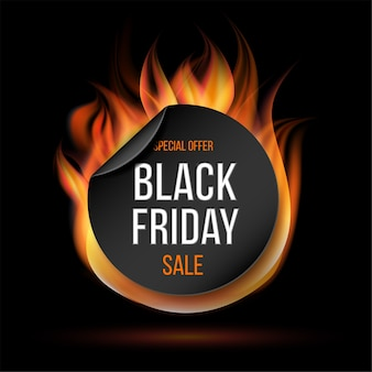 Черная пятница распродажа огненная этикетка. огненный специальный ярлык или значок для продвижения бизнеса.