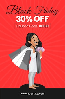 Black friday sale flyer design with girl holding money and shopping bags
