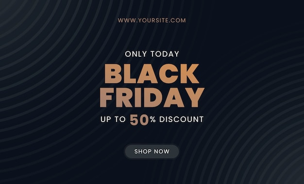 Black friday sale flyer with gold text