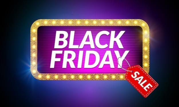 Black friday sale frame design template. black friday discount retro banner with neon sign light frame.