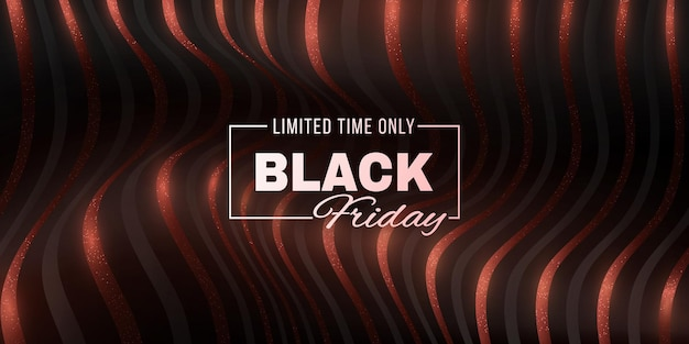 Black friday sale futuristic banner. abstract, 3d, glittering waveforms background. fashion advertising promotion template. commercial discount event. vector business illustration. eps 10.
