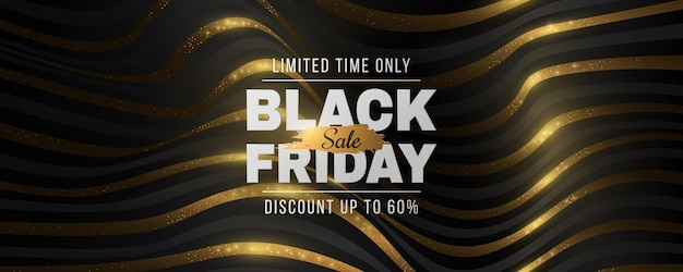 Black friday sale futuristic banner. abstract, 3d, golden, glittering waveforms background. fashion advertising promotion template. commercial discount event. vector business illustration. eps 10.