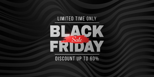 Black friday sale futuristic banner. abstract, 3d waveforms background. fashion advertising promotion template. commercial discount event. text decoration. vector business illustration. eps 10.