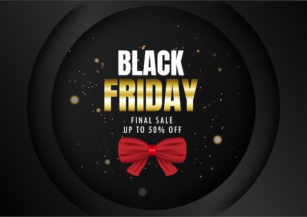 Black friday sale gift box on black background.