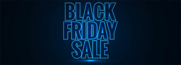 Black friday sale glowing blue text