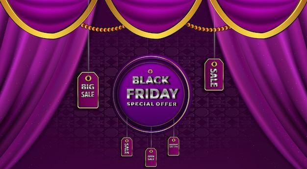 Black friday sale on the gold label prices  background
