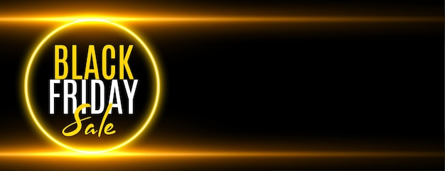 Black friday sale golden glowing banner with text space