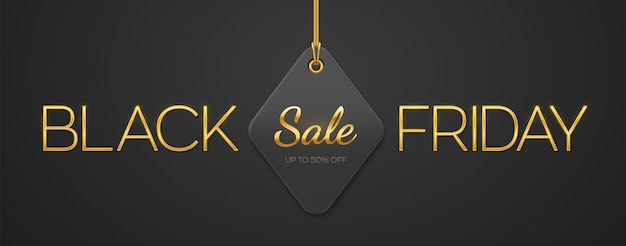 ブラックフライデーセール。金色のメタリックの豪華な文字ブラックフライデーと黒の背景に金のロープにぶら下がっている値札クーポン。横長のバナー、ウェブサイトのヘッダー、ポスター。ベクトルイラスト。