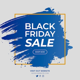 Black friday sale gradient banner with golden square