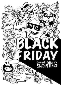 Черная пятница продажи рисованной концепции иллюстрации. черная пятница продажи рука надписи и рисунков элементы и символы фон.
