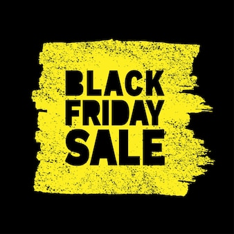 Black friday sale hand drawn yellow grunge stain on black background