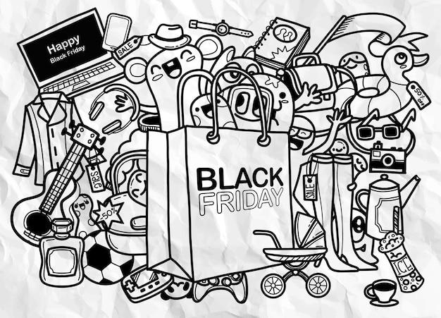 Black friday sale hand lettering and doodles elements background.   hand drawn illustration