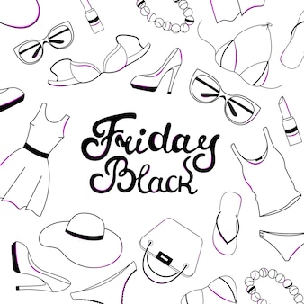 Black friday sale hand lettering. women clothing, shoes, underwear and accessories.