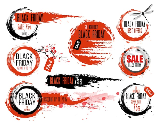Black friday sale handdrawn ink badges in traditional japanese style