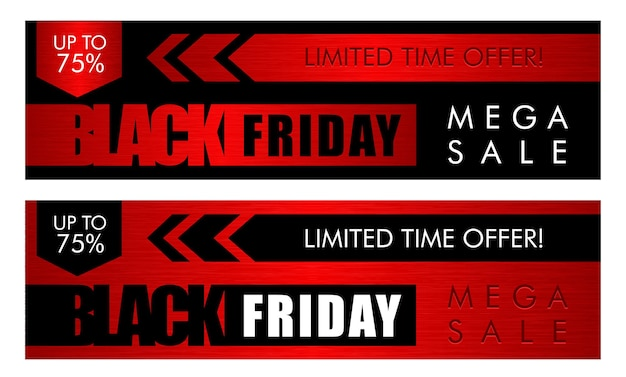 Black friday sale horisontal web banners