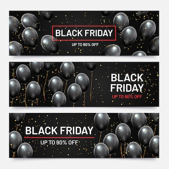 Black friday sale horizontal banners set. flying glossy balloons with falling golden confetti. discount for products in shop, big sale up to 90 percent off advertisement vector illustration