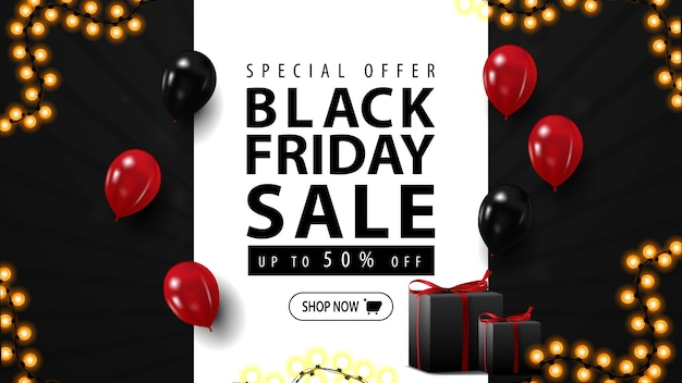 Black friday sale, horizontal web banner with gifts. black discount banner with balloons