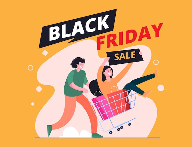 Black friday sale illustration concept, 2 people and pushing shopping cart happily because of lots of discounts