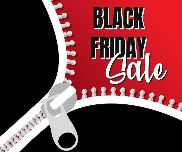Шаблон оформления продажи надпись черная пятница. черная пятница продажа шаблон с застежкой-молнией. векторная иллюстрация