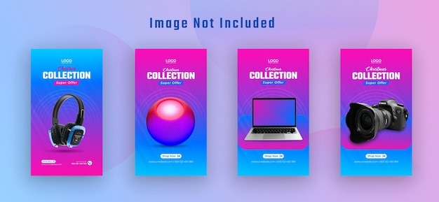 Black friday sale instagram stories collection for advertisement premium vector