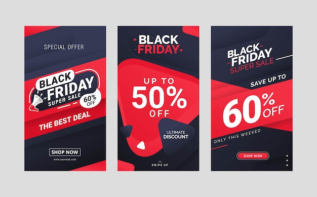 Black friday sale instagram stories post template design collection
