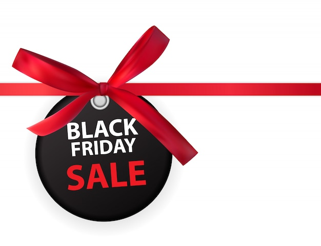 Black friday sale labei with bow and ribbon isolated on white