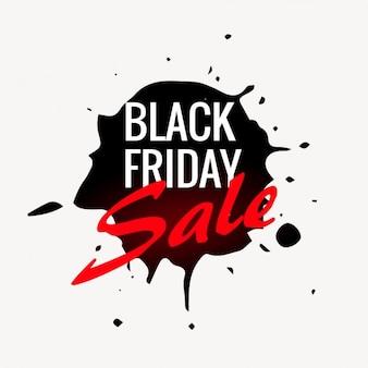 Black friday sale label in ink splash