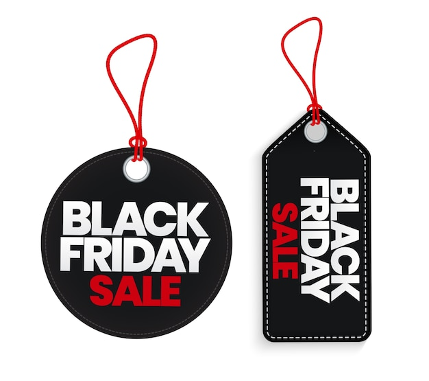 Black friday sale label template collection set.