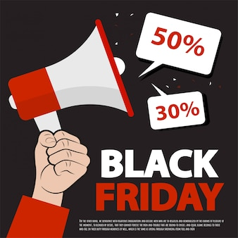 Black friday sale layout background with hand and megaphone.black friday banner. promotion  online shopping