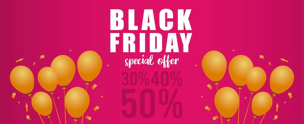 Black friday sale lettering banner with golden balloons helium in pink background