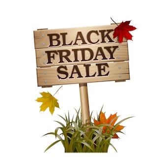 Черная пятница продажа надписи на деревянный знак. баннер коммерческих скидок. знак рекламы.