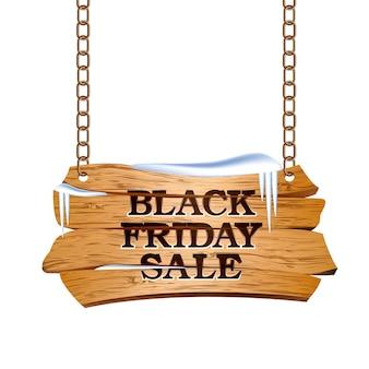 Черная пятница распродажа надписи на деревянном знаке, подвешенном на цепях