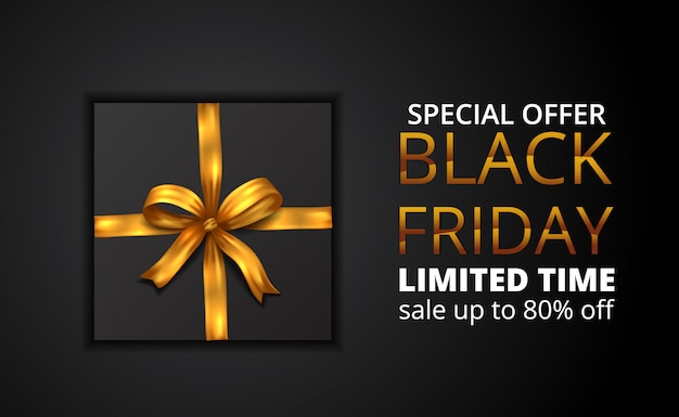 Black friday sale limited offer with illustration of present with golden ribbon