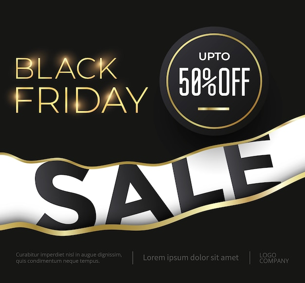 Black friday sale luxury banner with golden text and elements. vector illustration