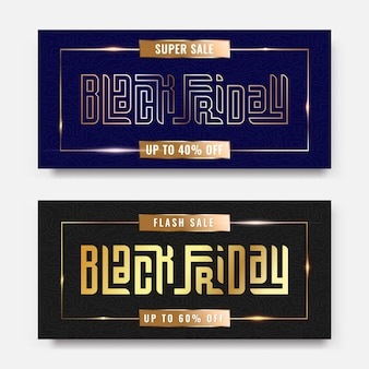 Black friday sale luxury gold typography lettering square concept for trendy flayer and banner template promotion