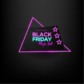 Black friday sale mega sale with triangle neon and black background