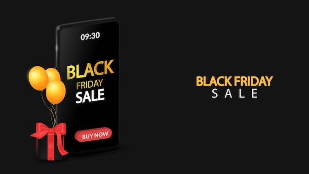 Black friday sale on mobile with black